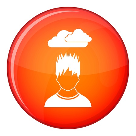 bad weather: Depressed man with dark cloud over his head icon in red circle isolated on white background vector illustration