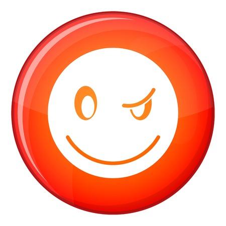 Émoticône Eyewink dans un cercle rouge isolé sur illustration vectorielle fond blanc Illustration