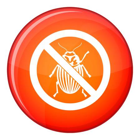 No potato beetle sign icon in red circle isolated on white background vector illustration