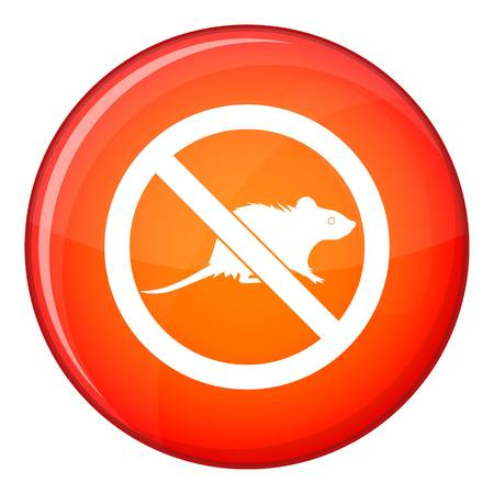 No rats sign icon in red circle isolated on white background vector illustration Vector Illustration