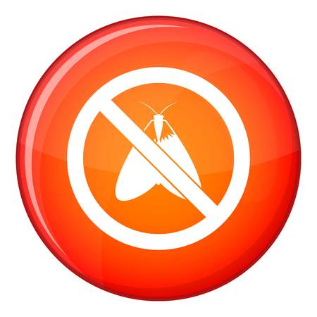 moth: No moth sign icon in red circle isolated on white background vector illustration