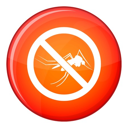 no mosquito: No mosquito sign icon in red circle isolated on white background vector illustration