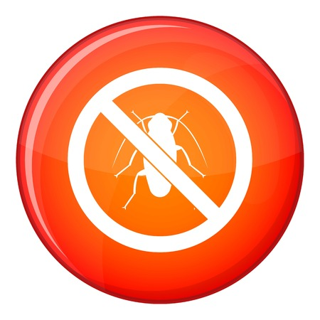 No cockroach sign icon in red circle isolated on white background vector illustration Illustration