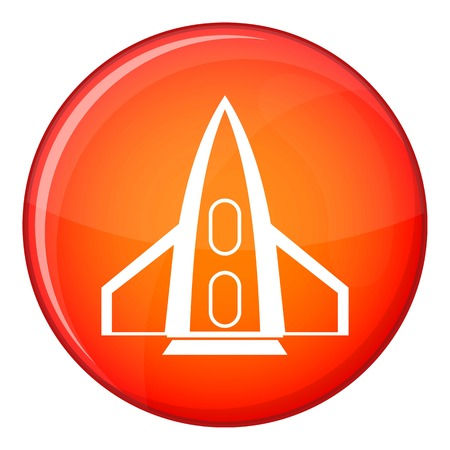 Rocket icon in red circle isolated on white background vector illustration