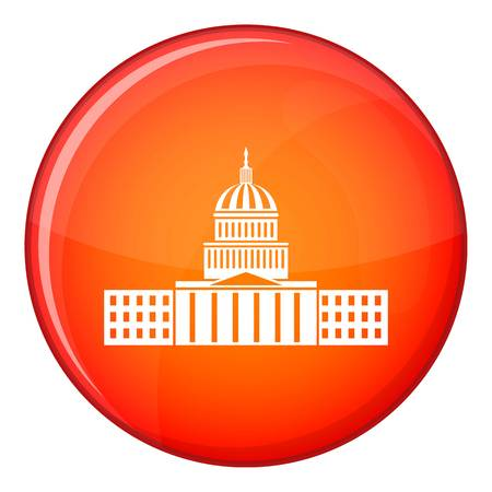 Capitol icon in red circle isolated on white background vector illustration