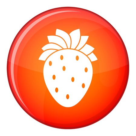Strawberry icon in red circle isolated on white background vector illustration Illustration