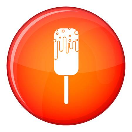 Ice Cream icon in red circle isolated on white background vector illustration