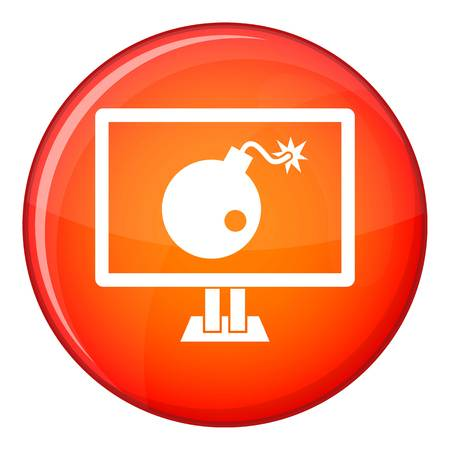 cyber warfare: Bomb on computer monitor icon in red circle isolated on white background vector illustration Illustration