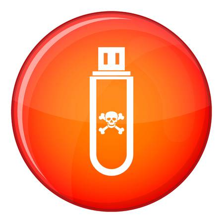Infected USB flash drive icon in red circle isolated on white background vector illustration Illustration