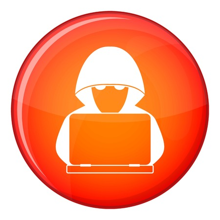 secret code: Computer hacker with laptop icon in red circle isolated on white background vector illustration