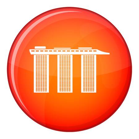 Marina Bay Sands Hotel, Singapore icon in red circle isolated on white background vector illustration Illustration
