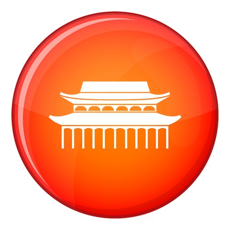 Buddha Toothe Relic Temple in Singapore icon in red circle isolated on white background vector illustration Illustration