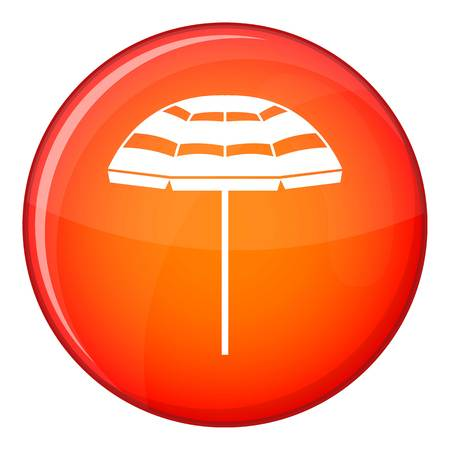 Beach umbrella icon in red circle isolated on white background vector illustration Illustration