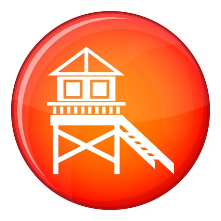 Wooden stilt house icon in red circle isolated on white background vector illustration