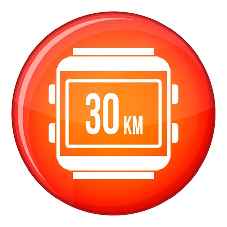kilometre: Speedometer bike icon in red circle isolated on white background vector illustration
