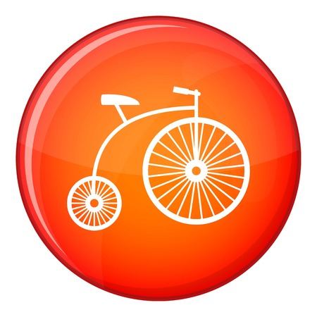 Penny-farthing icon in red circle isolated on white background vector illustration