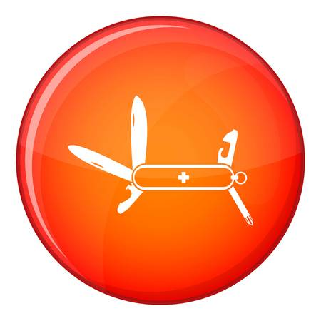 Swiss multipurpose knife icon in red circle isolated on white background vector illustration