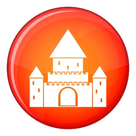 chateau: Chillon Castle, Switzerland icon in red circle isolated on white background vector illustration