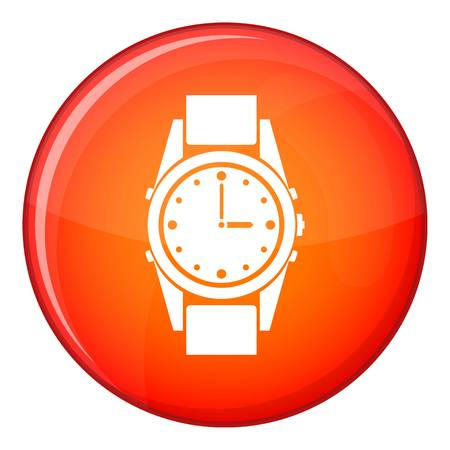 puntualidad: Swiss watch icon in red circle isolated on white background vector illustration