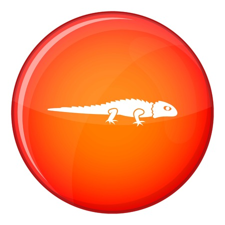 Iguana icon in red circle isolated on white background vector illustration Illustration