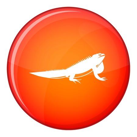 Icône d'iguane dans un cercle rouge isolé sur illustration vectorielle fond blanc