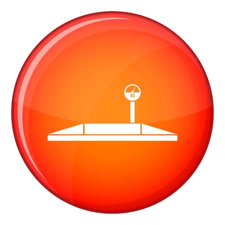 Parking scales icon in red circle isolated on white background vector illustration