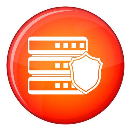 Database with gray shield icon in red circle isolated on white background vector illustration