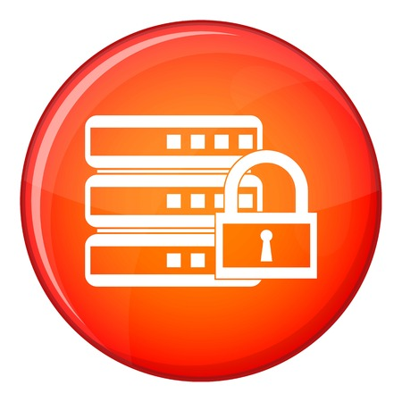 hard disk: Database with padlock icon in red circle isolated on white background vector illustration