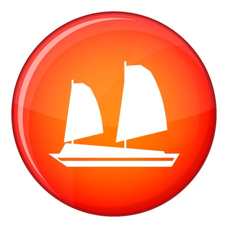 junk boat: Vietnamese junk boat icon in red circle isolated on white background vector illustration