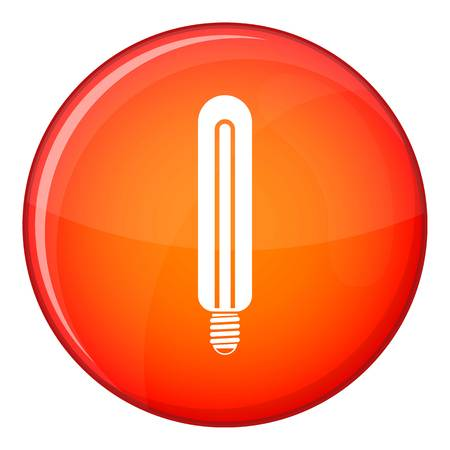 Tubular bulb icon in red circle isolated on white background vector illustration Illustration
