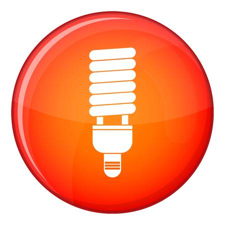 kilowatt: Fluorescent bulb icon in red circle isolated on white background vector illustration