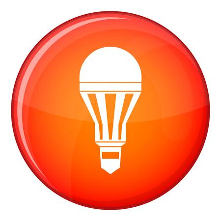 Led bulb icon in red circle isolated on white background vector illustration