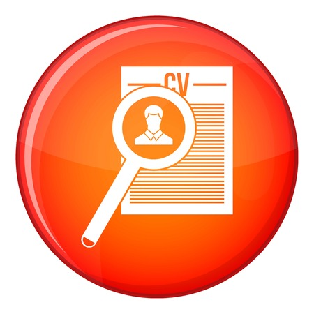Magnifying glass over curriculum vita icon in red circle isolated on white background vector illustration