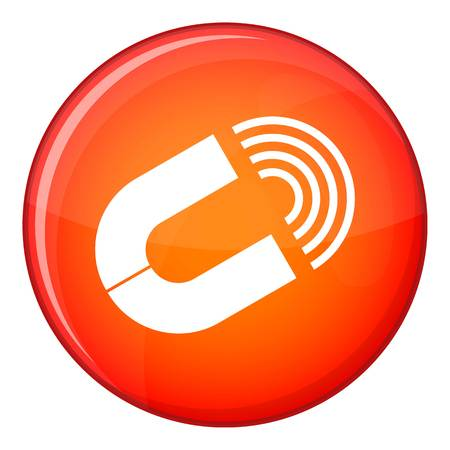 Horseshoe magnet icon in red circle isolated on white background vector illustration Illustration