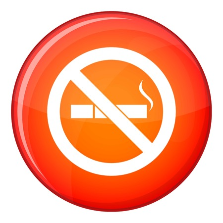 pernicious habit: No smoking sign icon in red circle isolated on white background vector illustration Illustration