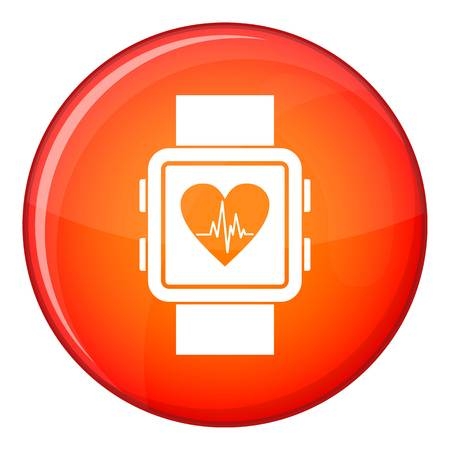 Smartwatch icon in red circle isolated on white background vector illustration