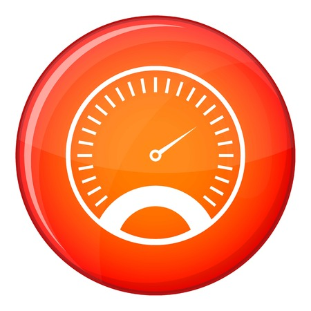 Speedometer icon in red circle isolated on white background vector illustration