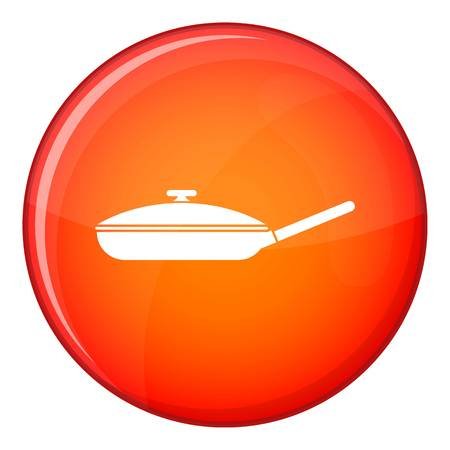 Black frying pan with white lid icon in red circle isolated on white background vector illustration