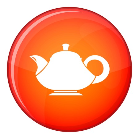 Teapot icon in red circle isolated on white background vector illustration Illustration