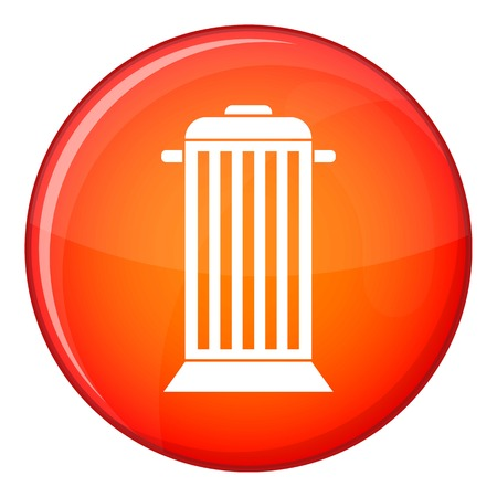 big bin: Street trash icon in red circle isolated on white background vector illustration