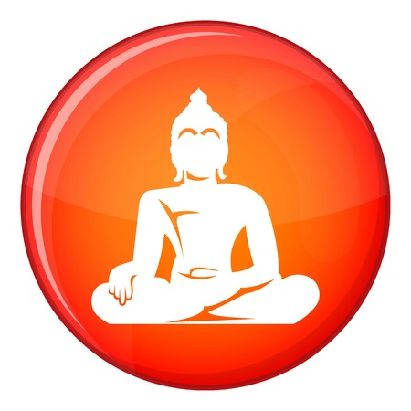 Statue of Buddha sitting in lotus pose icon in red circle isolated on white background vector illustration Illustration