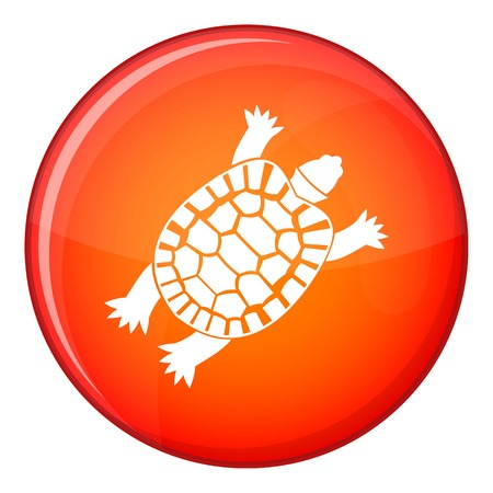 Turtle icon in red circle isolated on white background vector illustration