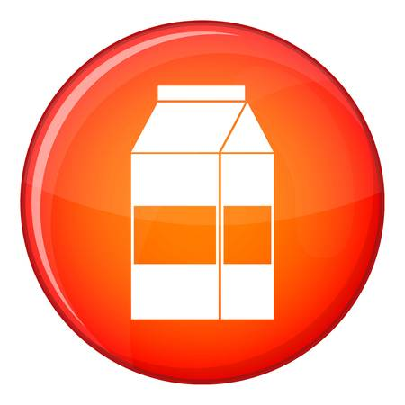 litre: Box of milk icon in red circle isolated on white background vector illustration