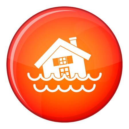 House sinking in a water icon in red circle isolated on white background vector illustration