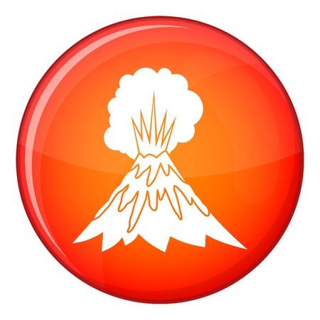 erupting: Volcano erupting icon in red circle isolated on white background vector illustration Illustration