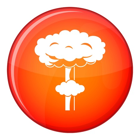 Nuclear explosion icon in red circle isolated on white background vector illustration
