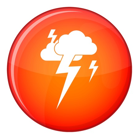 Cloud and lightning icon in red circle isolated on white background vector illustration Illustration