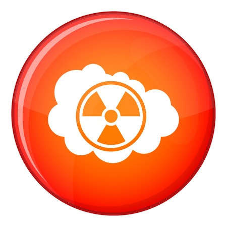 nuke plant: Cloud and radioactive sign icon in red circle isolated on white background vector illustration Illustration