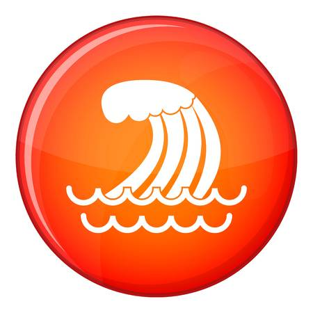 Tsunami wave icon in red circle isolated on white background vector illustration