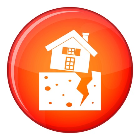 House after an earthquake icon in red circle isolated on white background vector illustration
